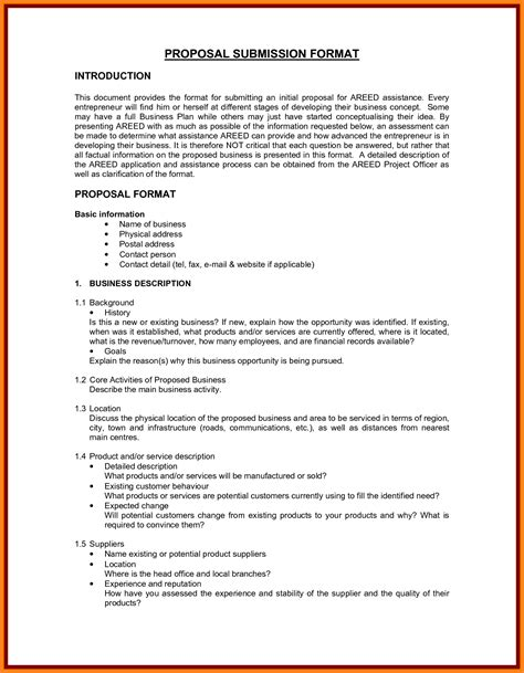 business bid template 5 business format template project