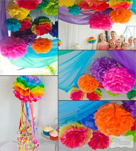 Tissue Paper Ceiling Decorations by Tissue Paper Flowers Tissue Pom Poms And Rainbow