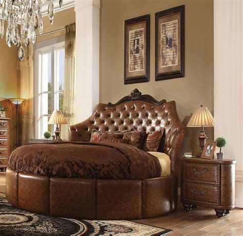 Round Bedroom Sets | formal round cherry brown bedroom set acme hot sectionals