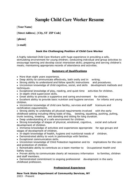 Childcare Resume by Child Care Worker Cover Letter Sle Child Care Worker