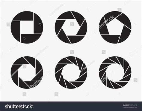 zoom pattern illustrator set black camera lens aperture icons stock vector