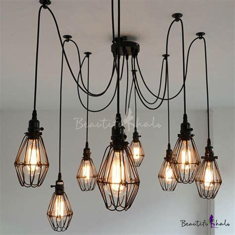 Multi Bulb Pendant Light Industrial Wire Guard 8 Bulbs Multi Light Pendant Beautifulhalo