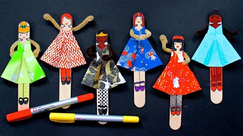 How To Make Paper Dolls At Home - diy posable origami dolls with free printable