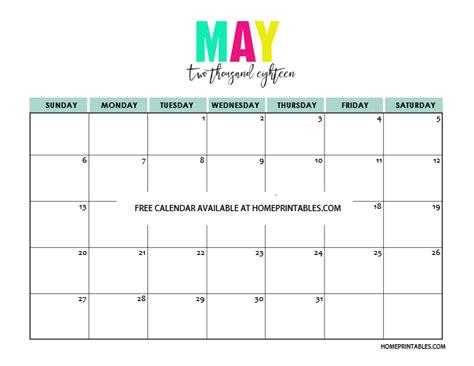 Calendar May 2018 Printable Calendar 2018 In Colors Free To Print