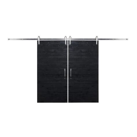 Rustica Hardware Bi Parting 36 In X 84 In Rustica Black Barn Door Hardware
