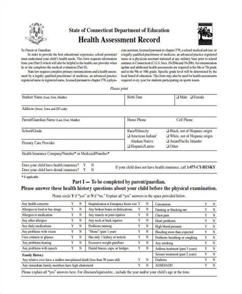 health physical form template 35 health assessment form templates