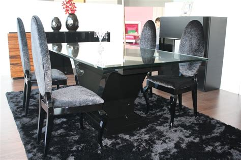 Black High Dining Table High Gloss Black Lacquered Rectangle Glass Top Dining Table