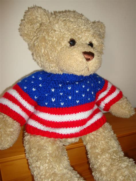 knit sweater pattern for teddy bear teddy bear sweater hand knitted stars and stripes usa