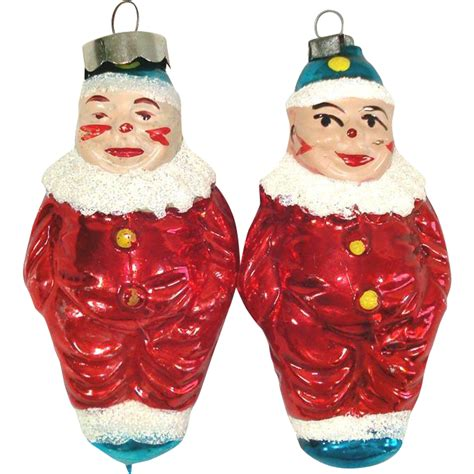 1950s christmas ornaments pair flesh clowns 1950s glass ornaments from coppertonlane on ruby
