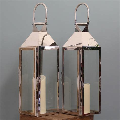 candle lanterns two knightsbridge silver candle lanterns 55cm by garden