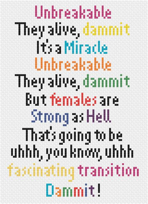 theme song unbreakable kimmy unbreakable kimmy schmidt theme song quote cross stitch