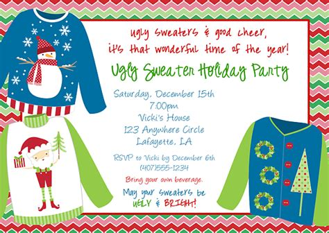 Ugly Christmas Sweater Party Invitations Sweater Invite Template