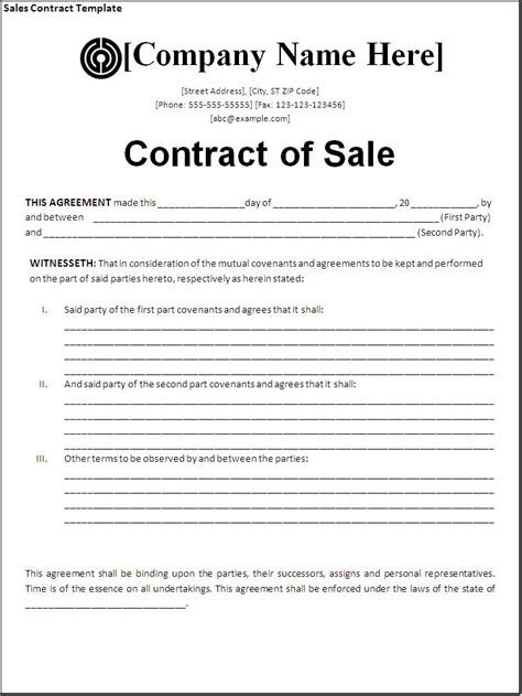 sales contract template download page word excel pdf