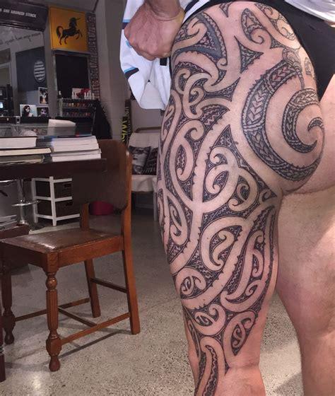 tattoo on buttocks completed maori thigh and buttock ta moko maori