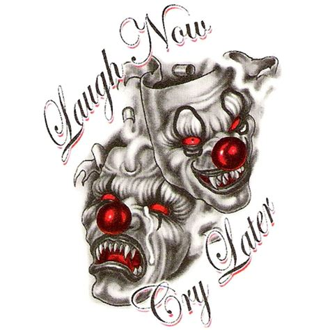 tattoo designs laugh now cry later 40 best clown designs