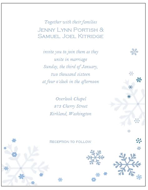 Winter Wonderland Invitations Templates Winter Wedding Invitation Templates Free