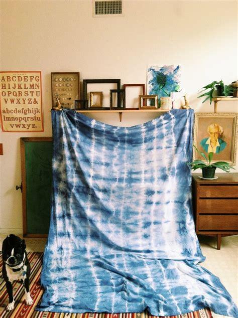 tie dye curtains diy diy tye dye curtain tablecloth rit denim blue via