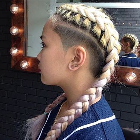 Shaved Hair With Plaits | thebarberpost undercut hair style and haircuts