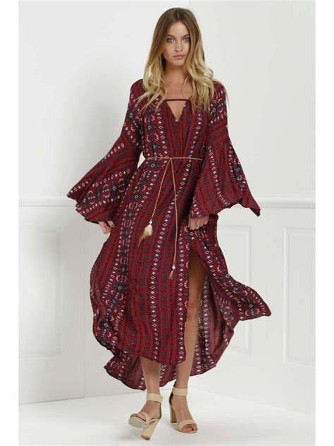 Dress Etnik Tribal Jumbo bell sleeve tribal pattern print dress sleeve dresses s zaful