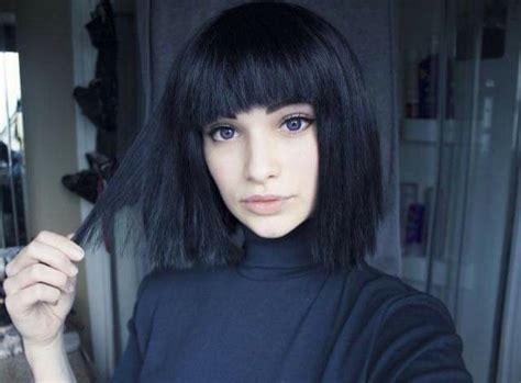 old goth bangs hairstyle beautiful black bob girl goth grunge hair make up