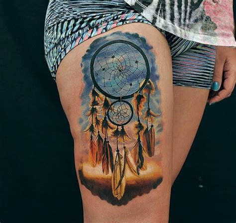 tattoo dreamcatcher thigh pretty dreamcatcher girls thigh piece best tattoo ideas