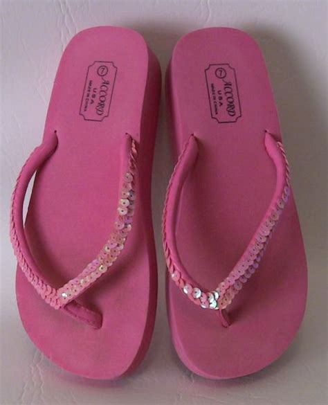 Faith Jarb Flip Flops by Rue S Pink Sequined Flip Flops From Faith Sold