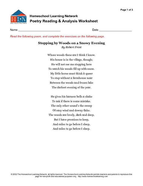 Poetry Analysis Worksheet by Essay On Stopping By Woods On A Snowy Evening Essay On
