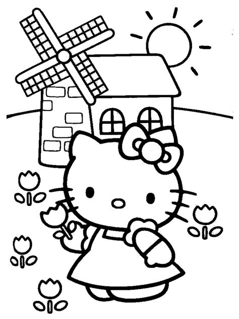 hello kitty with flowers coloring pages hello kitty coloring pages realistic coloring pages