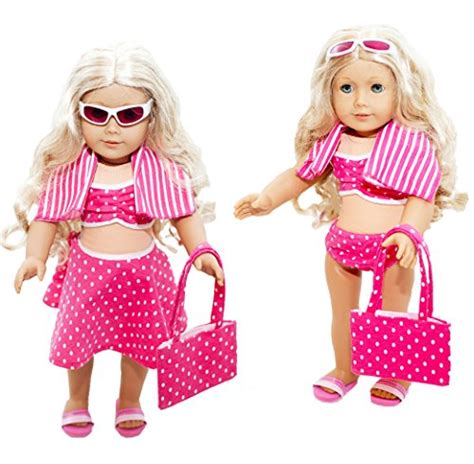 Polkadot By Pretty Doll with dolls 6 swimsuit set for american