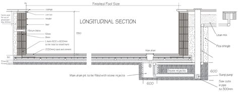 pool cross section longitudinal section flat bottom pool diagrams