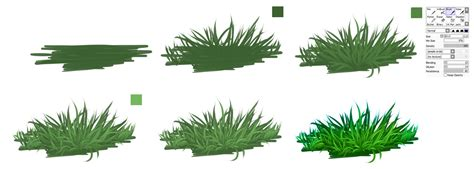 grass pattern drawing paint brushes and palette drawings