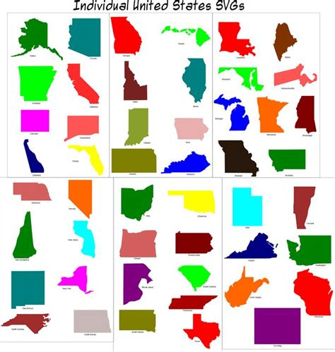 us map individual states 68 best images about cricut 50 states on