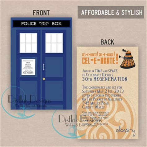 Doctor Who Birthday Invitation Tardis Or From Distinkdesigns On Doctor Who Birthday Card Template