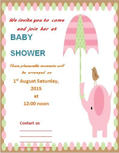 baby shower invites template invitation templates free word s templates