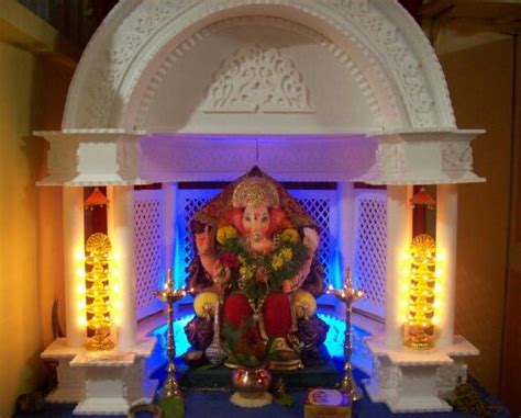 How To Decorate Home Mandir by Ganesh Makhar Decoration Images