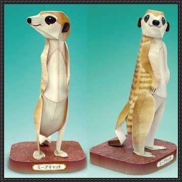 Origami Meerkat - animal paper model meerkat free template