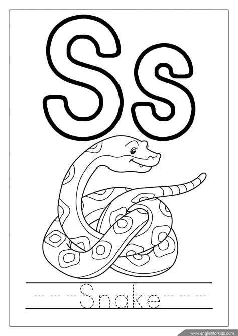 S Snake Coloring Page by Alphabet Coloring Pages Letters K T
