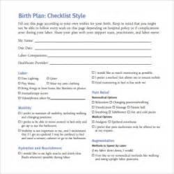 birth plan form checklist worksheet template printable