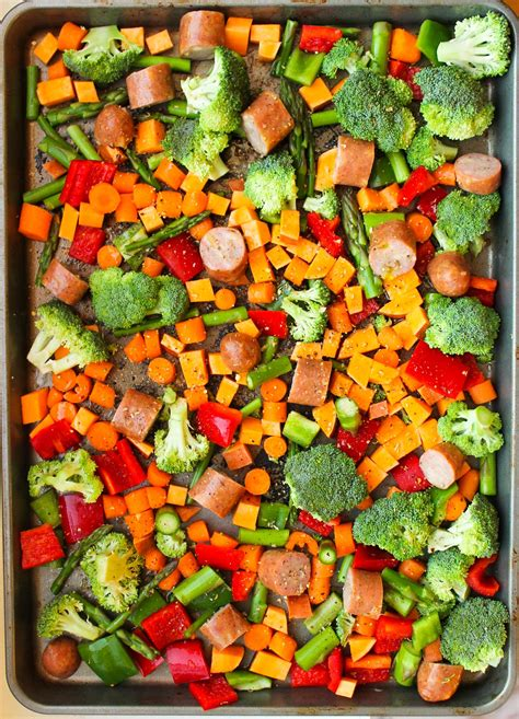 vegetables meals one pan sausage and vegetables meal prep smile sandwich