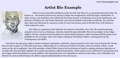 artist biography outline artist bio exle bio exles
