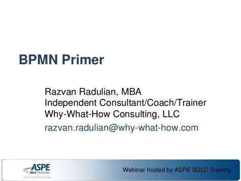 Personal Mba Coach Llc by Bpmn Primer Razvan Radulian Aspe Webinar 2013