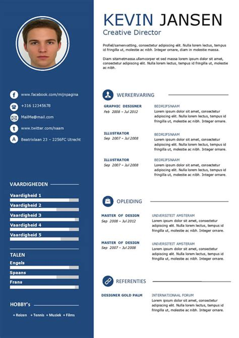 Modern Cv Sjabloon Word Een Modern Cv En Motivatie Sjabloon In Het Wit En Blauw