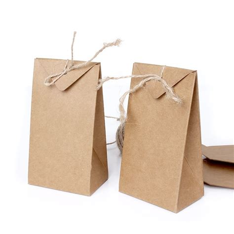 Folded Paper Bag - thick brown kraft paper folding gift pouch bag lace up