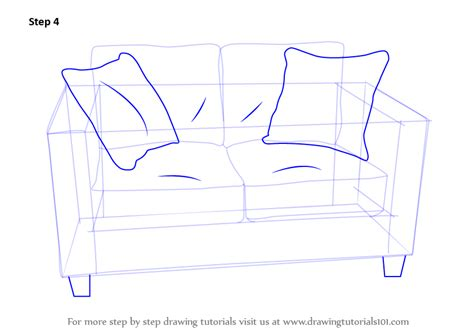 How To Draw A Sofa by Learn How To Draw Seats Sofa Furniture Step By