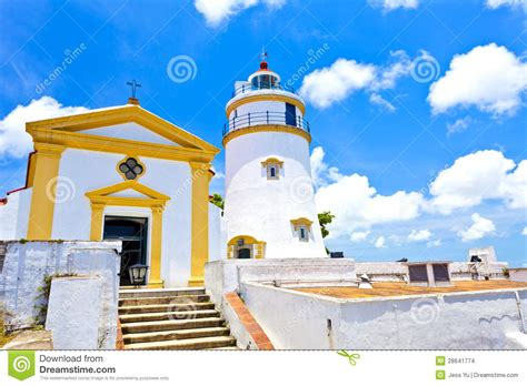 houses of light church light house and church in macau china stock images
