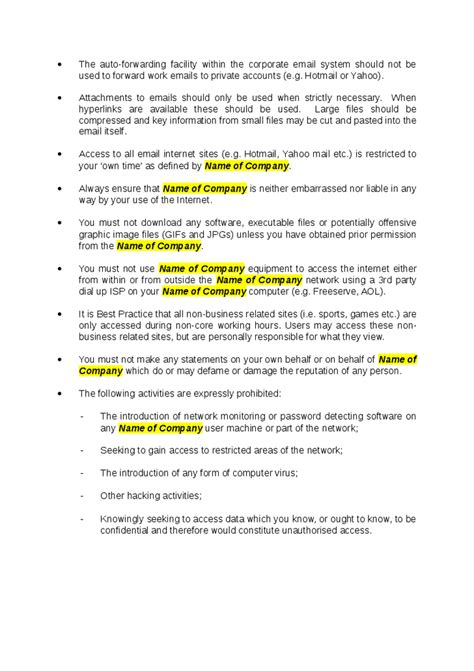 corporate email policy sle free printable documents