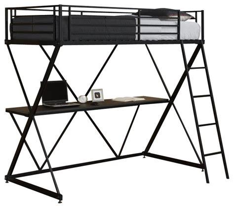 dhp  shaped twin metal loft bunk bed  black