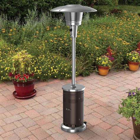 Garden Patio Heaters Shop Garden Treasures 47 000 Btu Mocha Steel Floorstanding Liquid Propane Patio Heater At Lowes