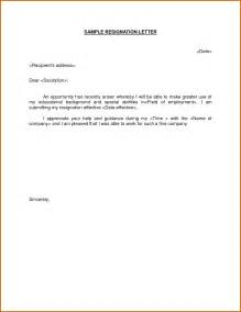 Simple Letter Of Resignation by 9 How To Make A Simple Resignation Letter Lease Template