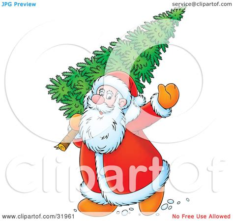 kris kringle trees clipart illustration of kris kringle waving while carrying a fresh cut tree his